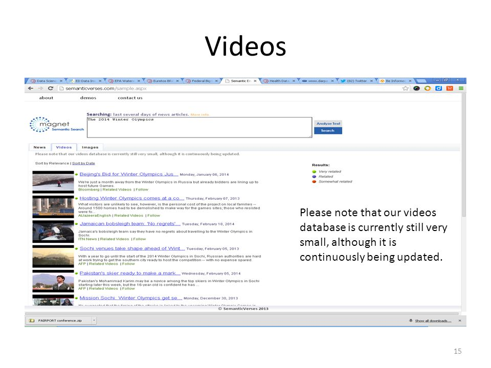 Videos Please note that our videos database is currently still very small, although it is continuously being updated.