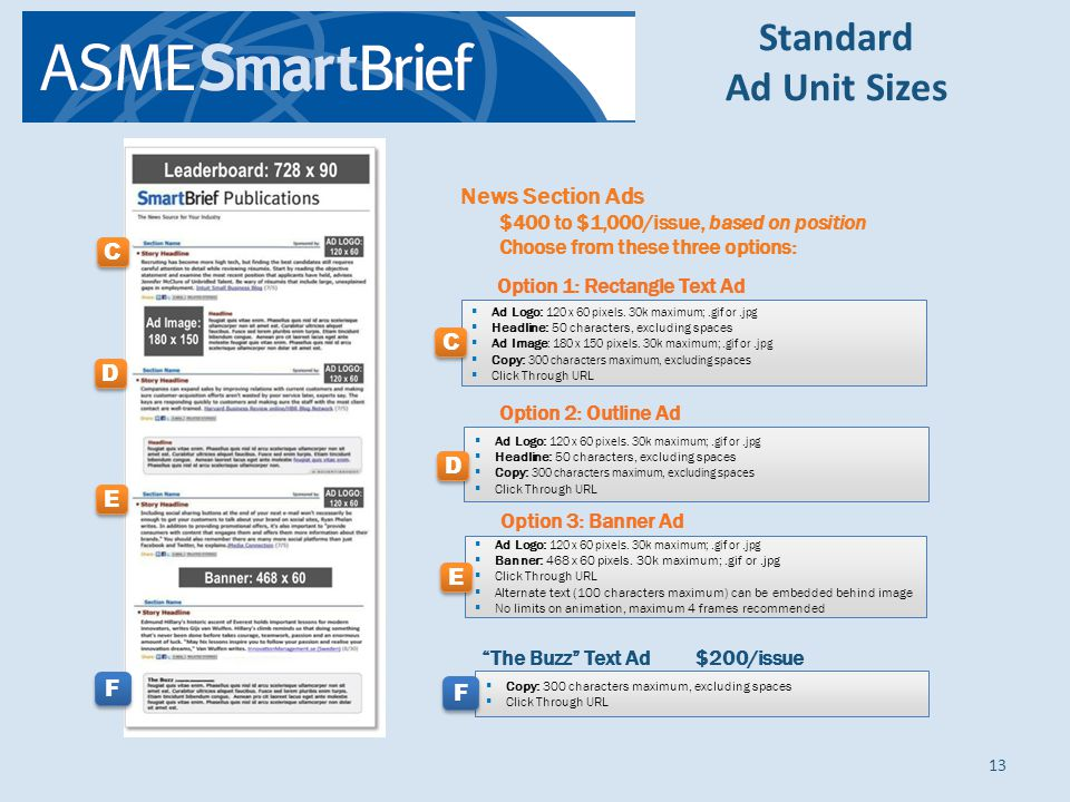 Standard Ad Unit Sizes 13 News Section Ads $400 to $1,000/issue, based on position Choose from these three options: Option 1: Rectangle Text Ad Ad Logo: 120 x 60 pixels.
