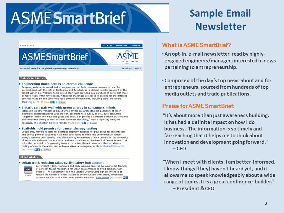 Sample Email Newsletter What is ASME SmartBrief.