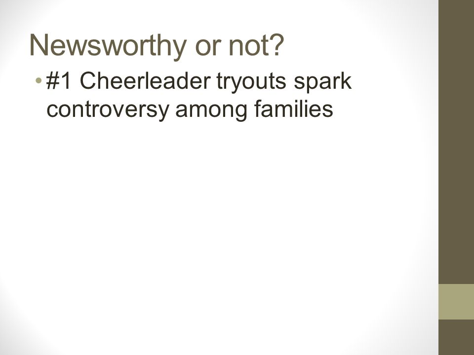 Newsworthy or not? #1 Cheerleader tryouts spark controversy among families