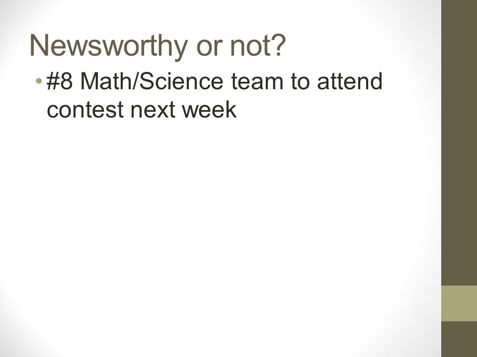 Newsworthy or not? #8 Math/Science team to attend contest next week