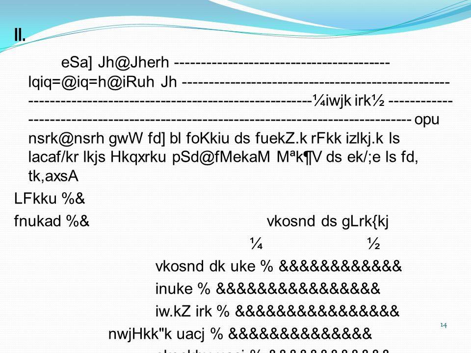 II. eSa] Jh@Jherh ----------------------------------------- lqiq=@iq=h@iRuh Jh --------------------------------------------------- -------------------