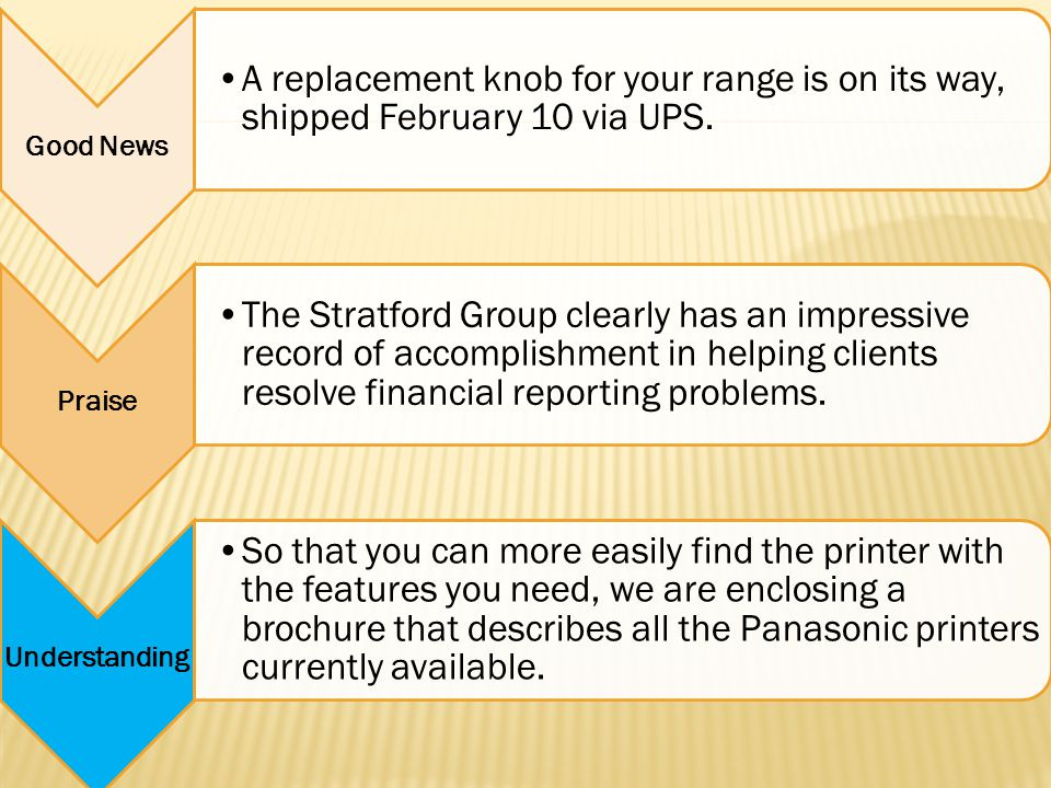 Good News A replacement knob for your range is on its way, shipped February 10 via UPS. Praise The Stratford Group clearly has an impressive record of