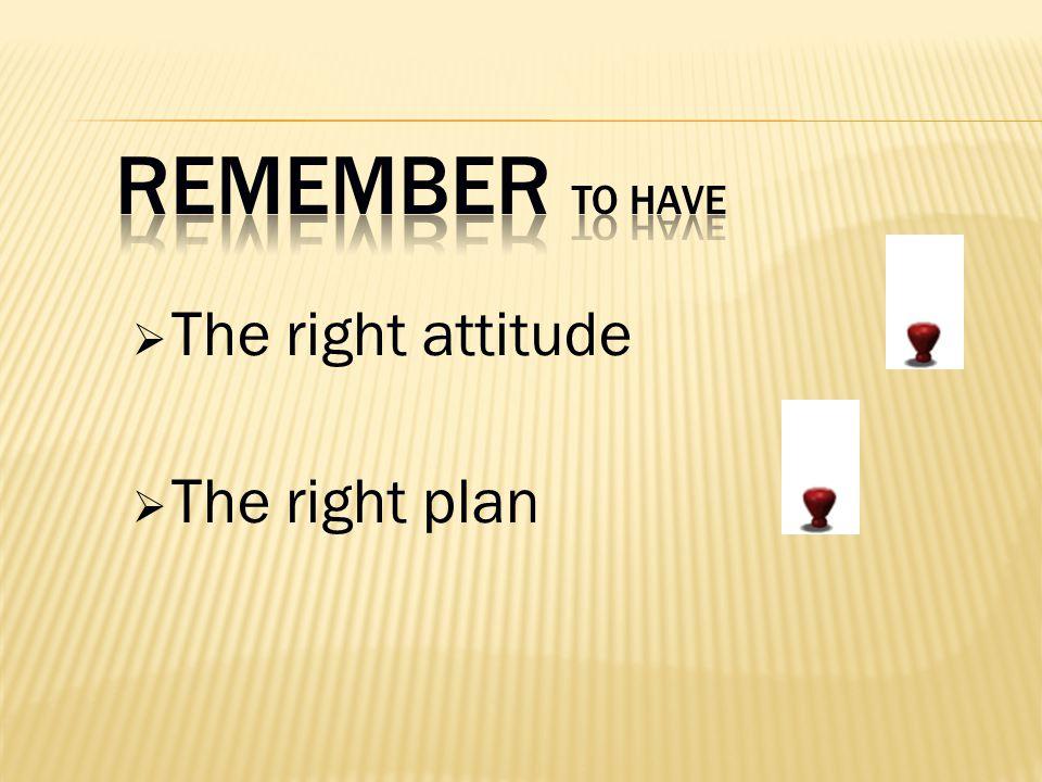 The right attitude The right plan