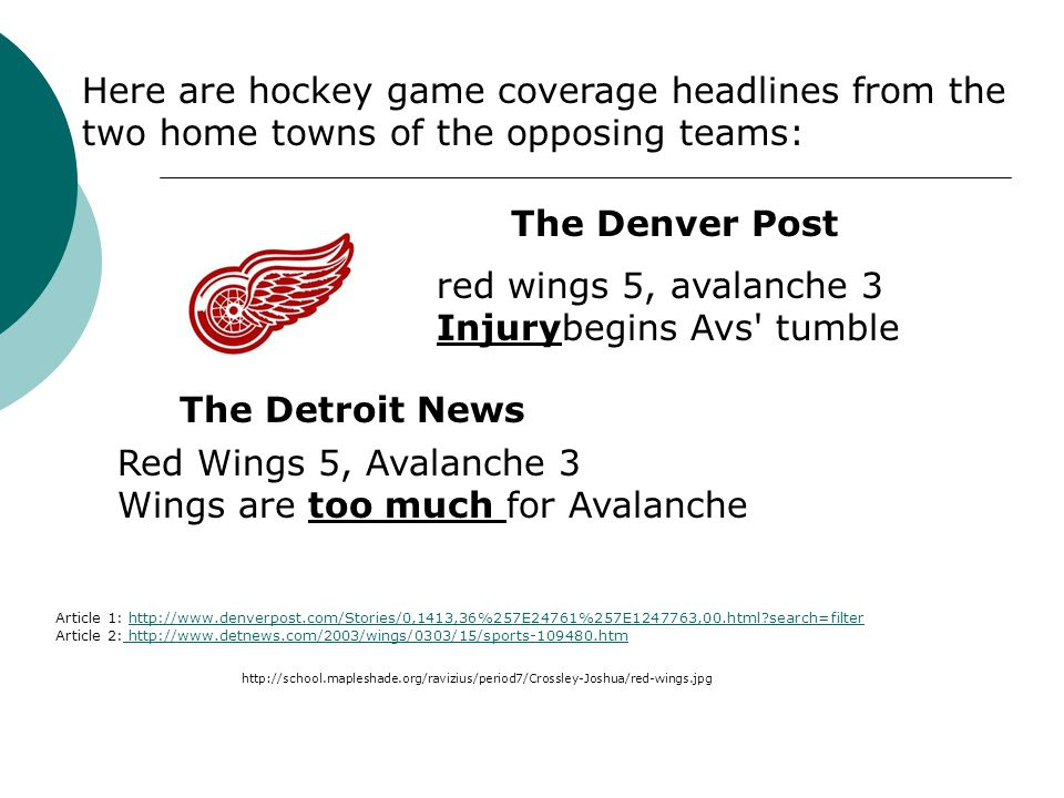 red wings 5, avalanche 3 Injurybegins Avs' tumble Red Wings 5, Avalanche 3 Wings are too much for Avalanche The Denver Post The Detroit News Article 1