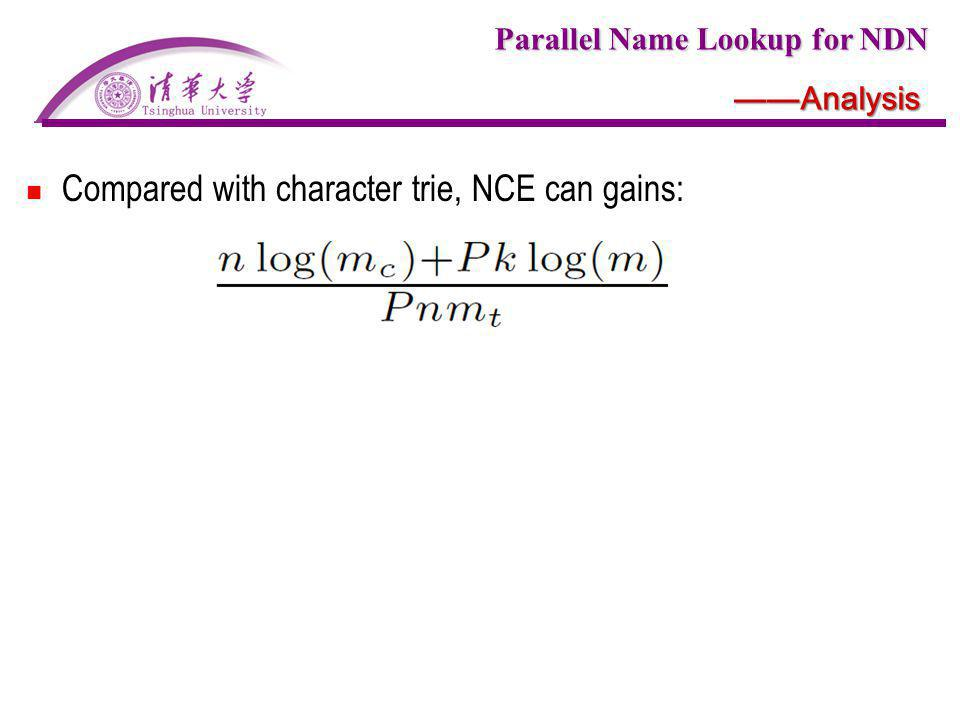 Parallel Name Lookup for NDN Analysis Compared with character trie, NCE can gains: