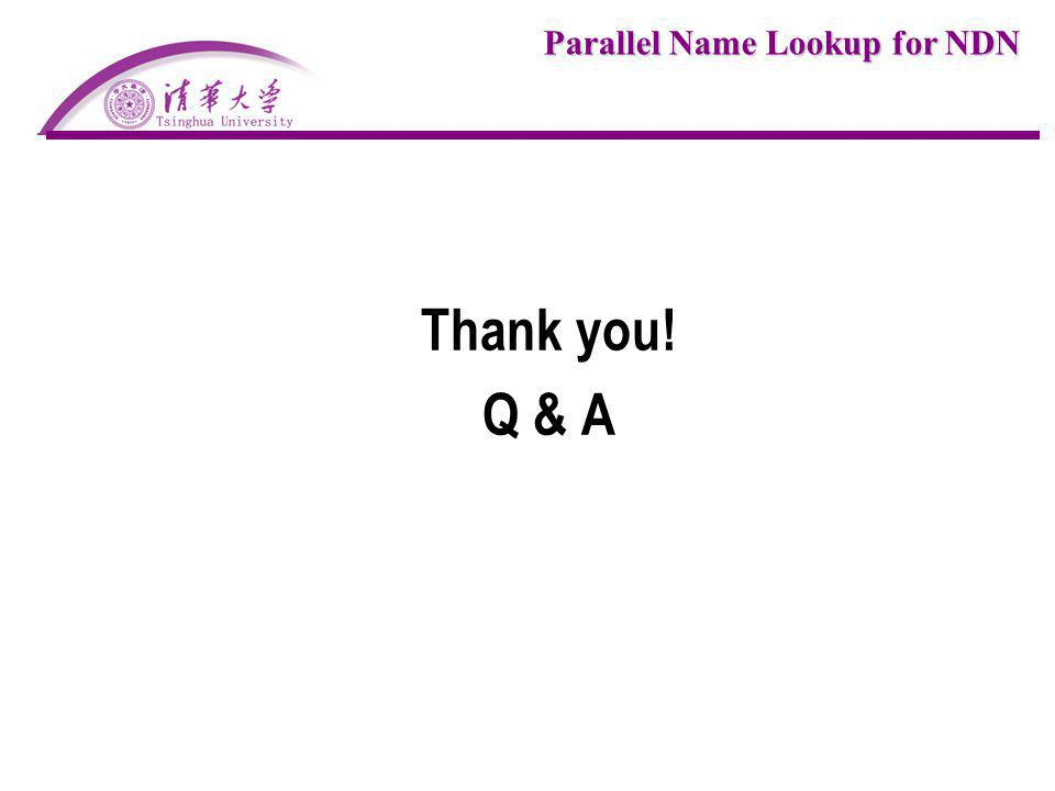 Parallel Name Lookup for NDN Thank you! Q & A