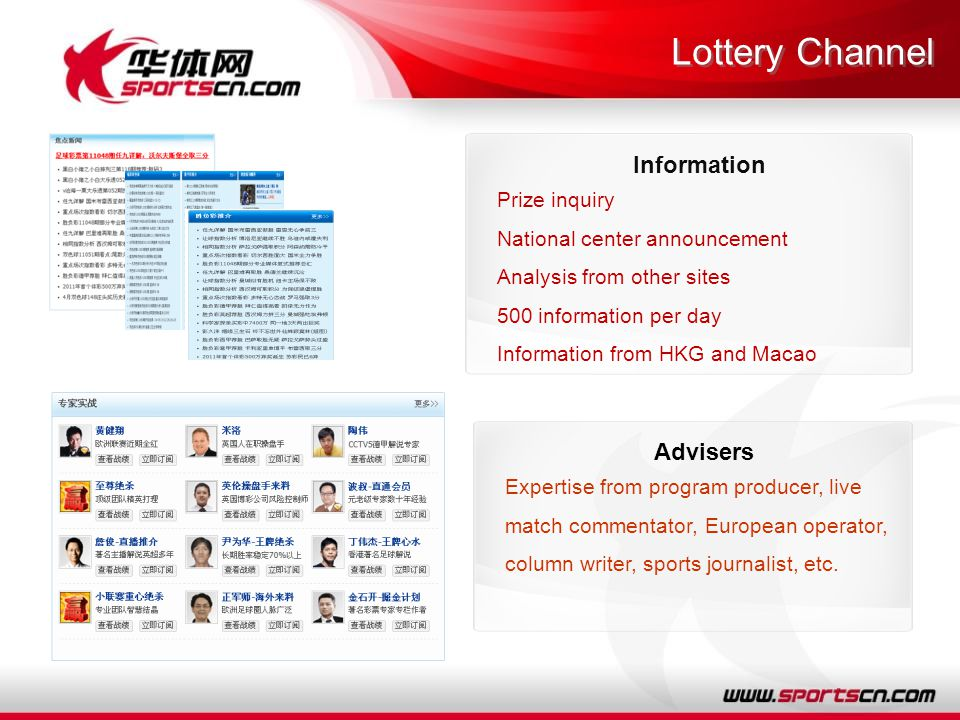 Lottery Channel Information Prize inquiry National center announcement Analysis from other sites 500 information per day Information from HKG and Macao Advisers Expertise from program producer, live match commentator, European operator, column writer, sports journalist, etc.