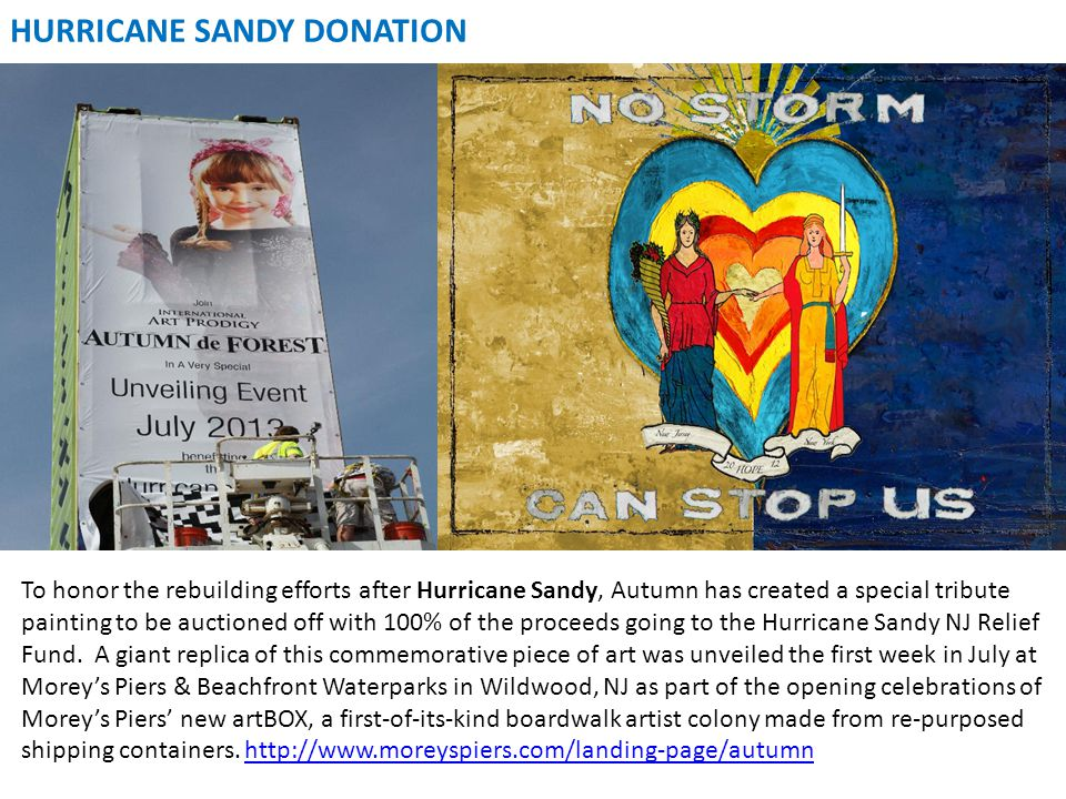 To honor the rebuilding efforts after Hurricane Sandy, Autumn has created a special tribute painting to be auctioned off with 100% of the proceeds goi