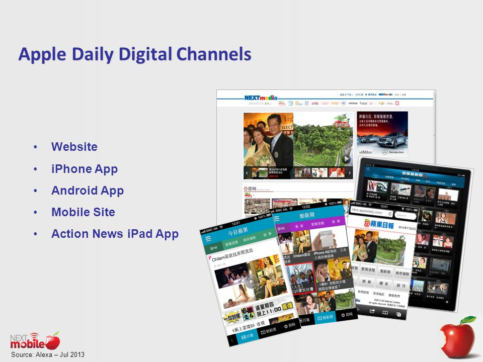 Source: Alexa – Jul 2013 Apple Daily Digital Channels Website iPhone App Android App Mobile Site Action News iPad App
