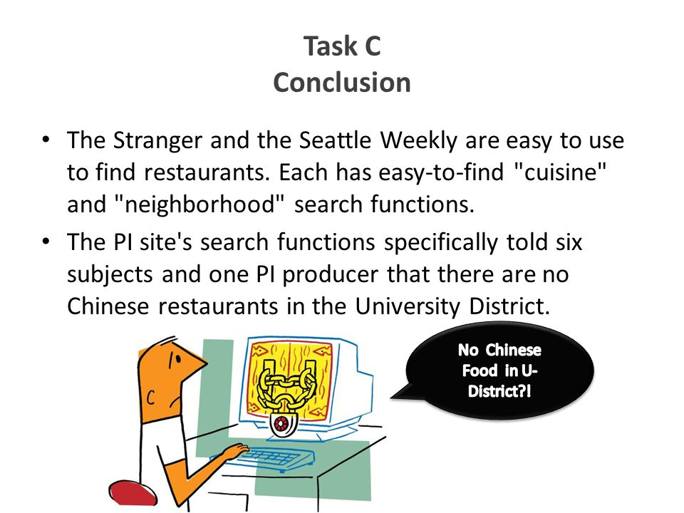 Task C Conclusion The Stranger and the Seattle Weekly are easy to use to find restaurants. Each has easy-to-find