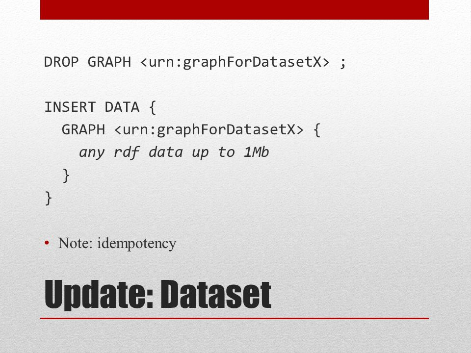 Update: Dataset DROP GRAPH ; INSERT DATA { GRAPH { any rdf data up to 1Mb } Note: idempotency