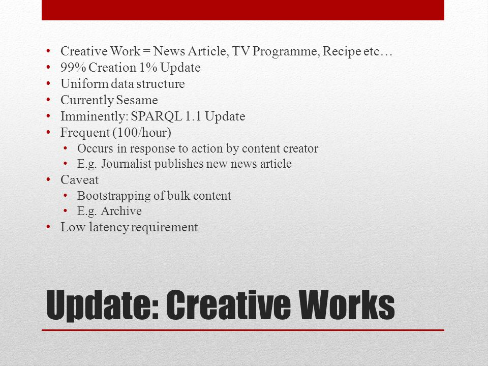 Update: Creative Works DROP GRAPH ; INSERT DATA { GRAPH { a cwork:CreativeWork ; cwork:title All about Linked Data ; cwork:dateModified 2012-10-13T14:56:01+00:00 ^^xsd:dateTime ; cwork:about ; cwork:mentions ; cms:locator ; bbc:primaryContentOf ; bbc:primaryContentOf.