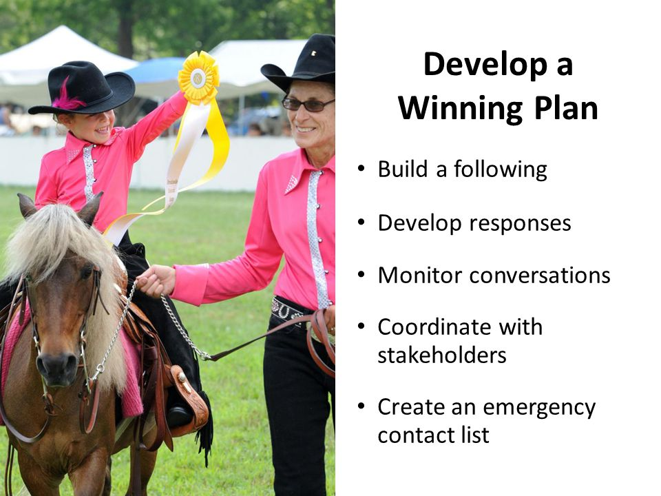 Develop a Winning Plan Build a following Develop responses Monitor conversations Coordinate with stakeholders Create an emergency contact list