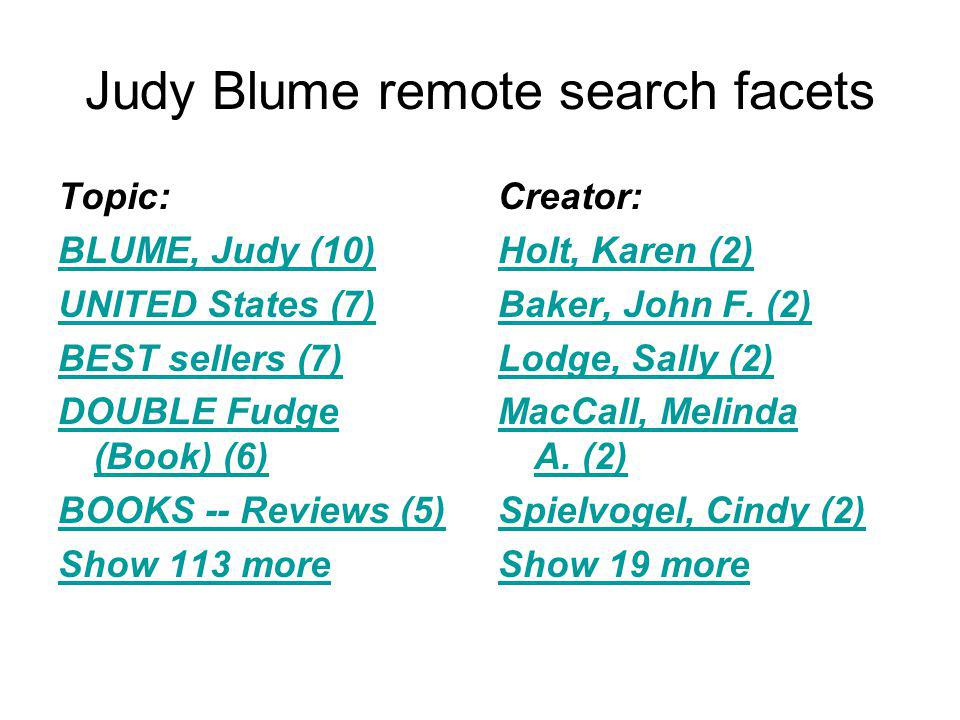 Judy Blume remote search facets Topic: BLUME, Judy (10) UNITED States (7) BEST sellers (7) DOUBLE Fudge (Book) (6) BOOKS -- Reviews (5) Show 113 more Creator: Holt, Karen (2) Baker, John F.