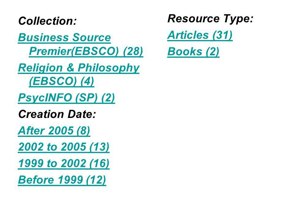 Collection: Business Source Premier(EBSCO) (28) Religion & Philosophy (EBSCO) (4) PsycINFO (SP) (2) Creation Date: After 2005 (8) 2002 to 2005 (13) 1999 to 2002 (16) Before 1999 (12) Resource Type: Articles (31) Books (2)