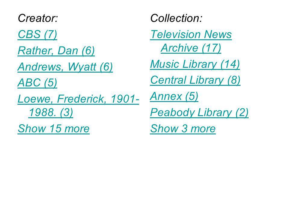 Creator: CBS (7) Rather, Dan (6) Andrews, Wyatt (6) ABC (5) Loewe, Frederick, 1901- 1988.