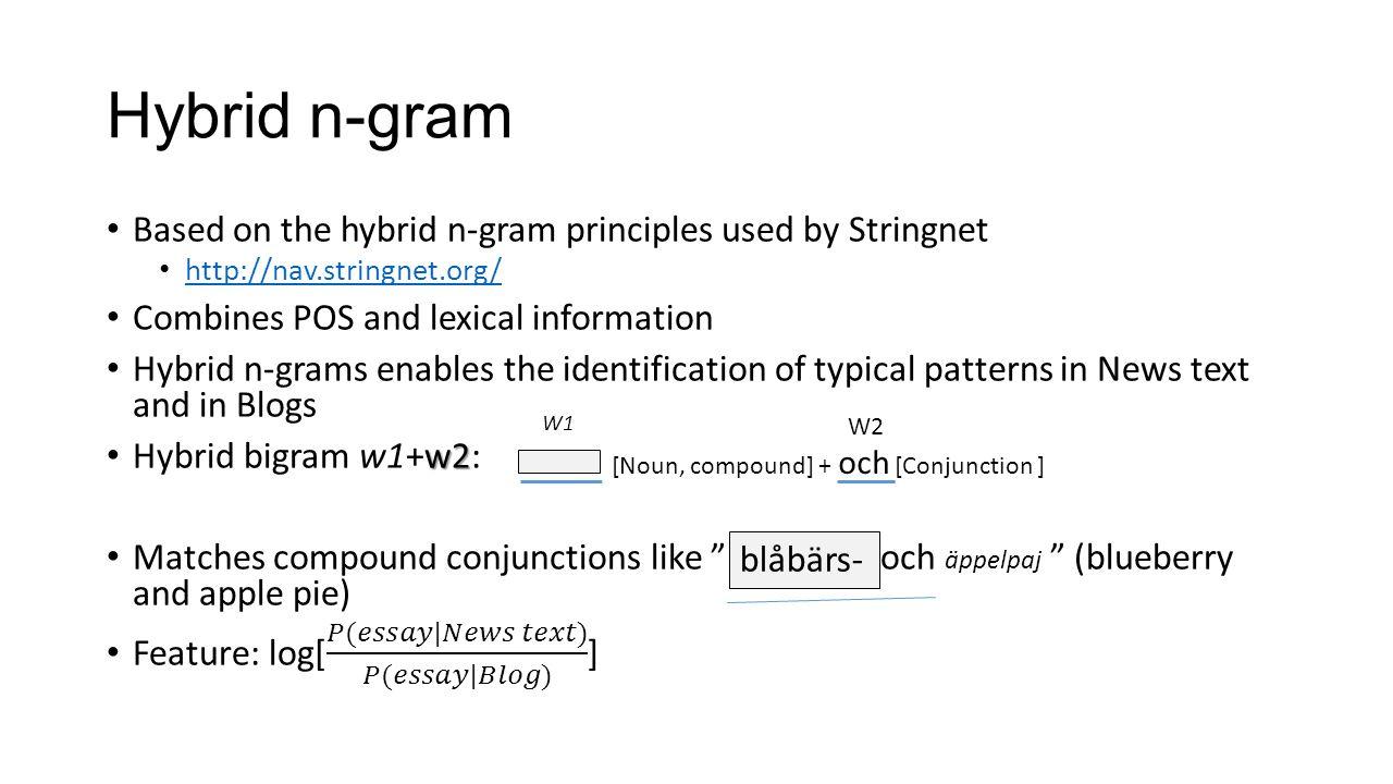 Hybrid n-gram [Noun, compound] + och [Conjunction ] W1 W2 blåbärs-