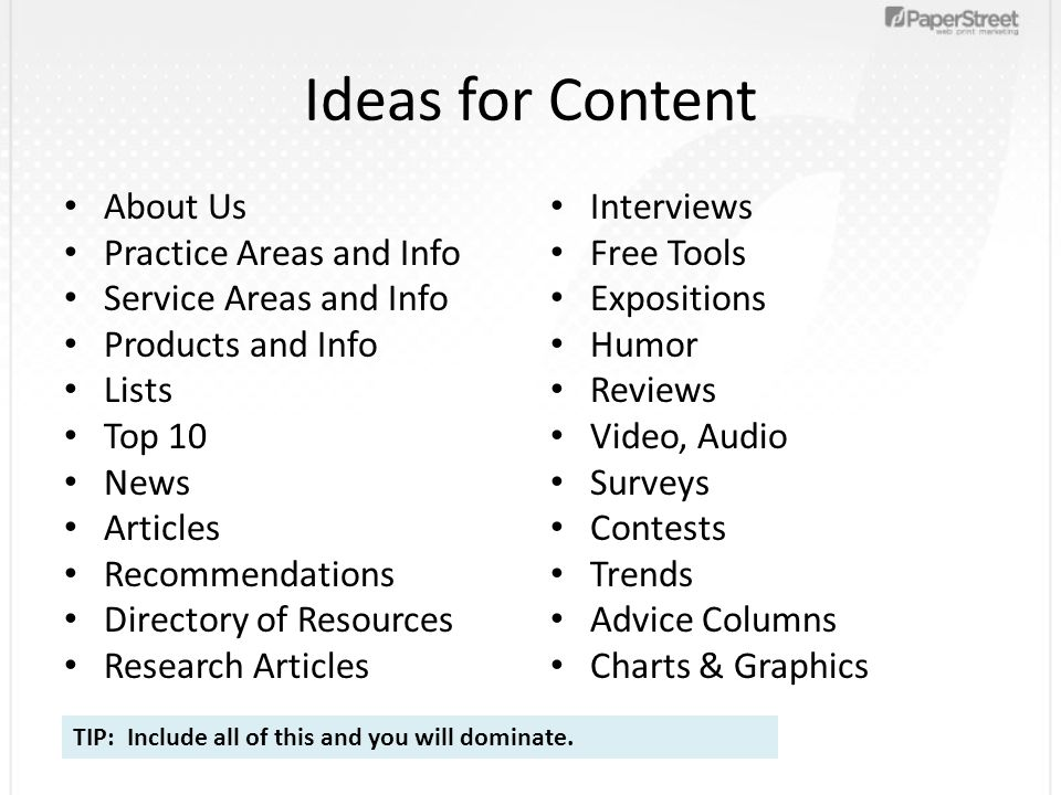 Ideas for Content About Us Practice Areas and Info Service Areas and Info Products and Info Lists Top 10 News Articles Recommendations Directory of Re