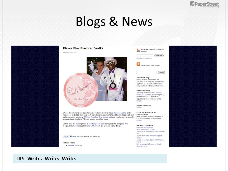 Blogs & News TIP: Write. Write. Write.