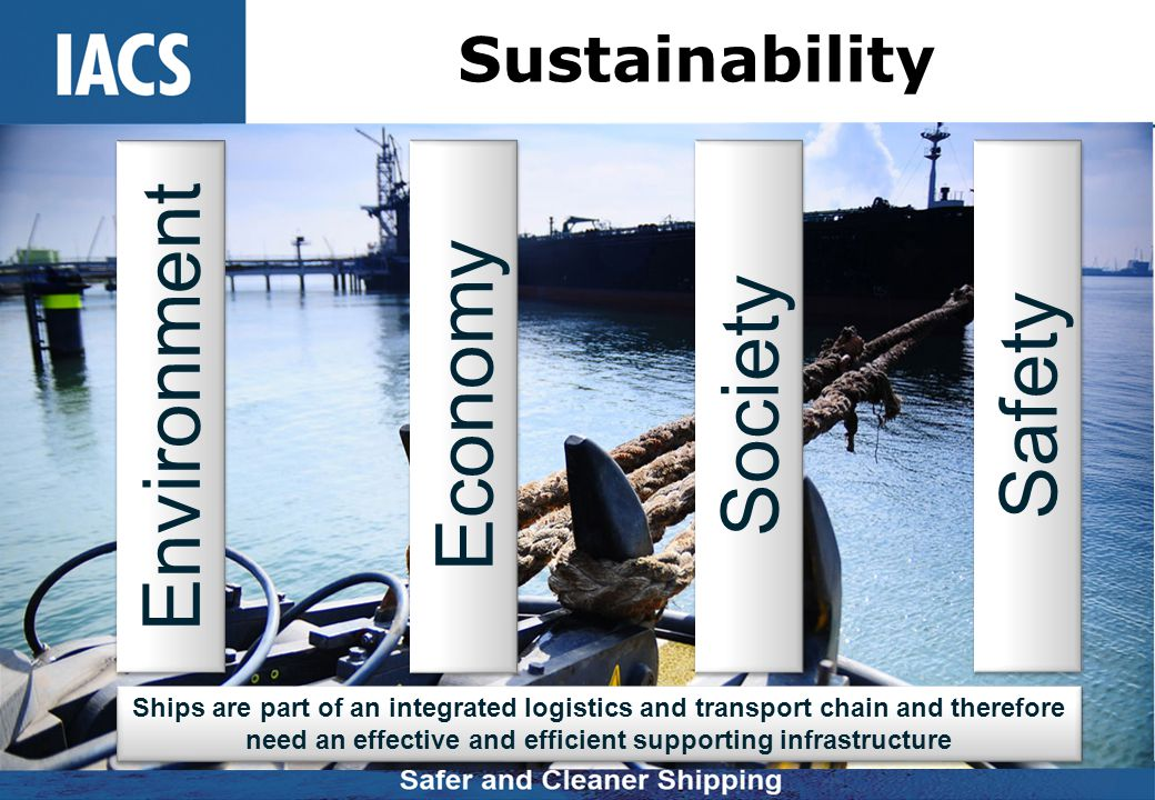 Sustainability Economy Society Ships are part of an integrated logistics and transport chain and therefore need an effective and efficient supporting