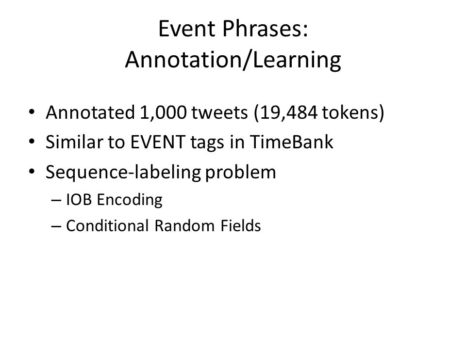 Event Phrases: Annotation/Learning Annotated 1,000 tweets (19,484 tokens) Similar to EVENT tags in TimeBank Sequence-labeling problem – IOB Encoding –