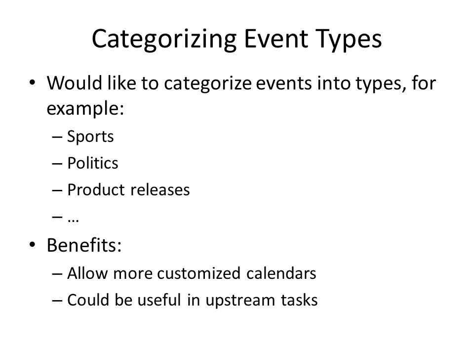 Categorizing Event Types Would like to categorize events into types, for example: – Sports – Politics – Product releases – … Benefits: – Allow more cu
