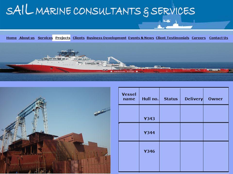 Vessel name Hull no. Status Delivery Owner Y343 Y344 Y346