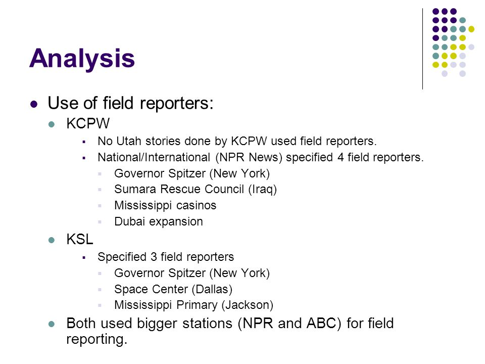 Analysis Use of field reporters: KCPW No Utah stories done by KCPW used field reporters.