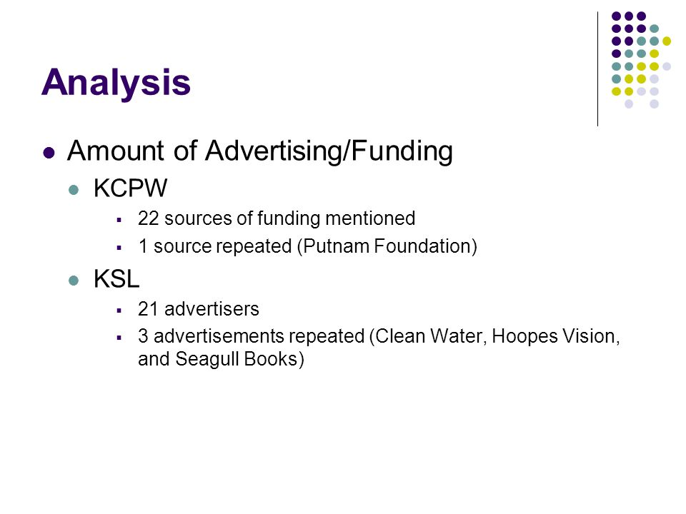 Analysis Amount of Advertising/Funding KCPW 22 sources of funding mentioned 1 source repeated (Putnam Foundation) KSL 21 advertisers 3 advertisements repeated (Clean Water, Hoopes Vision, and Seagull Books)