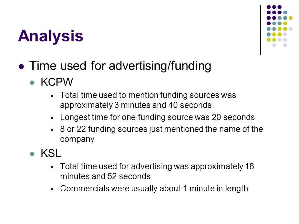 Analysis Time used for advertising/funding KCPW Total time used to mention funding sources was approximately 3 minutes and 40 seconds Longest time for one funding source was 20 seconds 8 or 22 funding sources just mentioned the name of the company KSL Total time used for advertising was approximately 18 minutes and 52 seconds Commercials were usually about 1 minute in length
