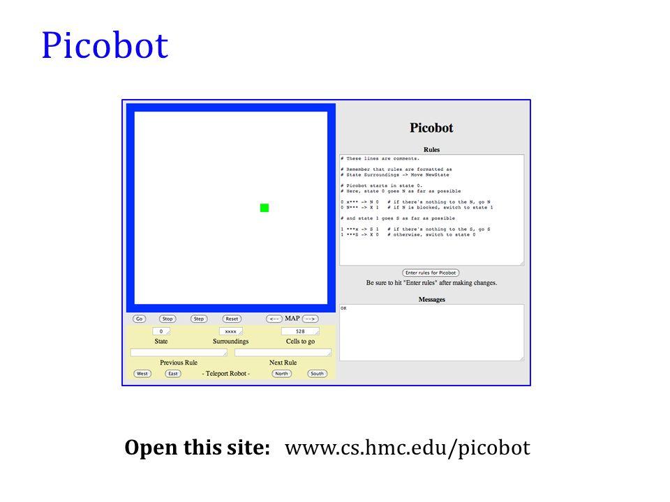 Picobot Open this site: www.cs.hmc.edu/picobot