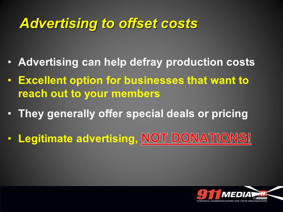 Advertising to offset costs