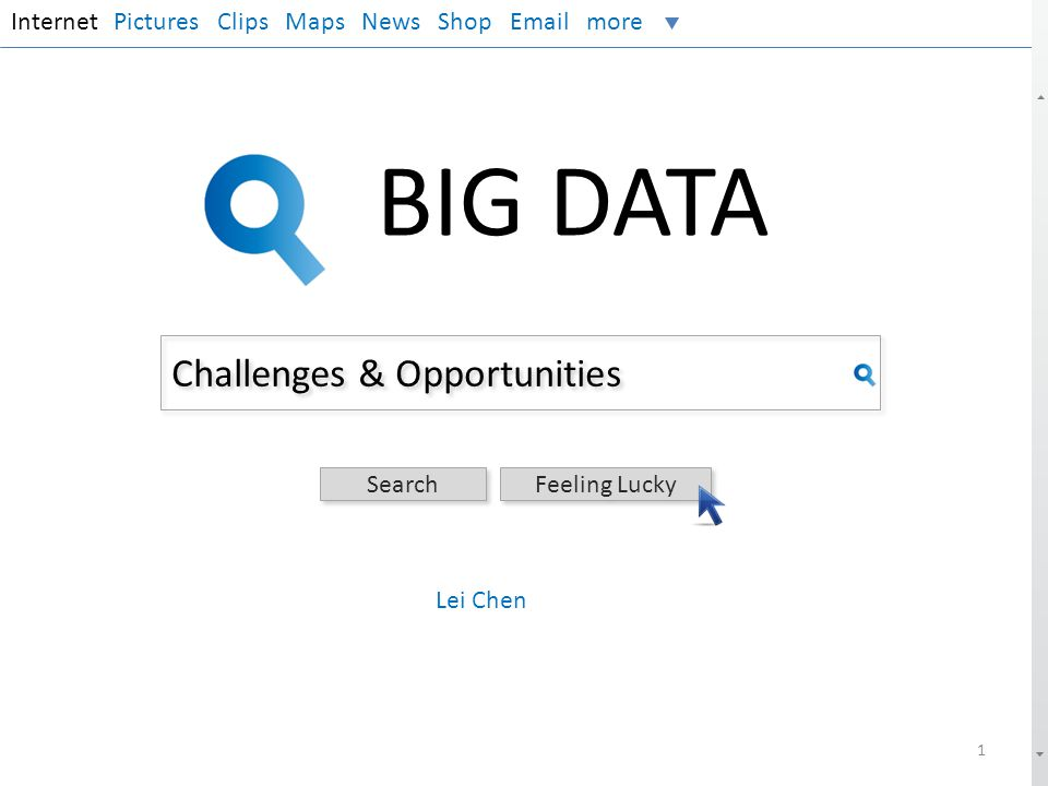 Opportunities InternetPictures Clips Maps News Shop Email more BIG DATA Outline Background Challenges.