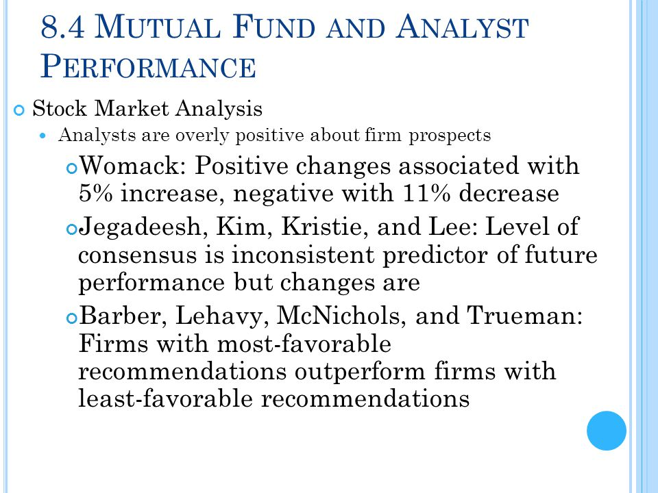 8.4 M UTUAL F UND AND A NALYST P ERFORMANCE Stock Market Analysis Analysts are overly positive about firm prospects Womack: Positive changes associate