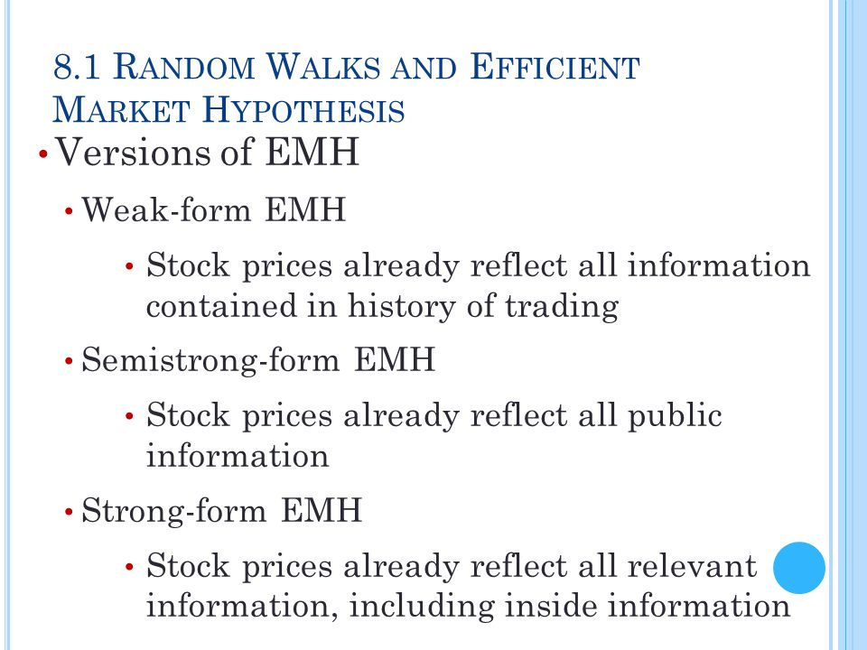 8.2 I MPLICATIONS OF THE EMH Technical Analysis Research on recurrent/predictable price patterns and on proxies for buy/sell pressure in market Resistance Level Unlikely for stock/index to rise above Support Level Unlikely for stock/index to fall below
