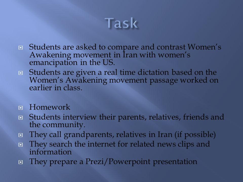 Students are asked to compare and contrast Womens Awakening movement in Iran with womens emancipation in the US. Students are given a real time dictat