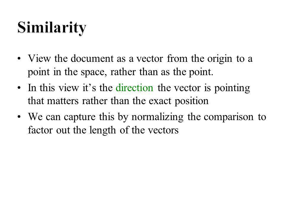 View the document as a vector from the origin to a point in the space, rather than as the point. In this view its the direction the vector is pointing