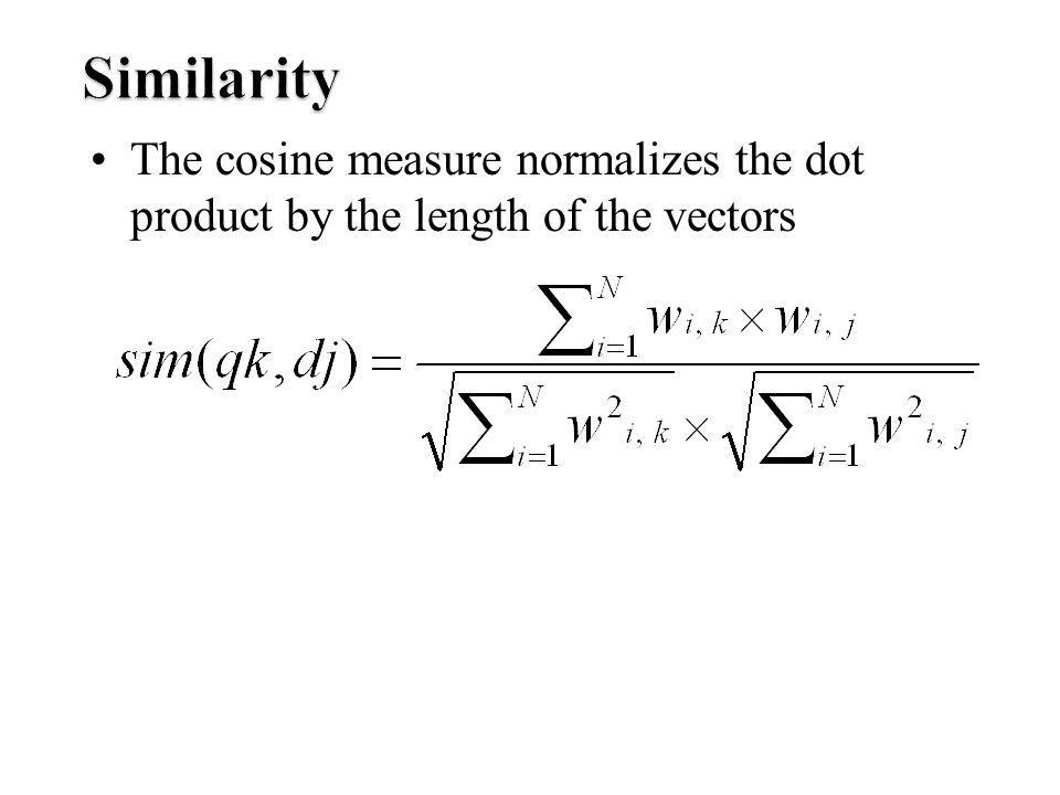 The cosine measure normalizes the dot product by the length of the vectors