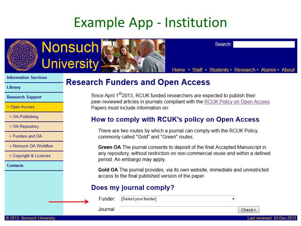 Example App - Institution