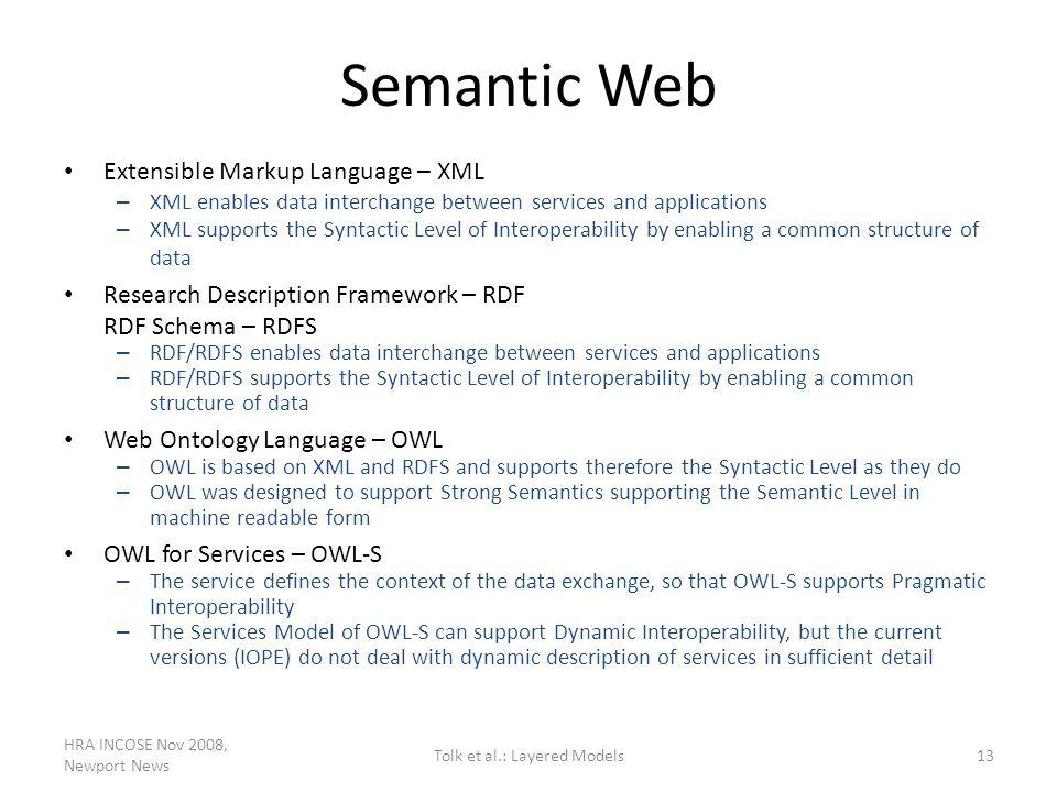 Semantic Web Extensible Markup Language – XML – XML enables data interchange between services and applications – XML supports the Syntactic Level of I