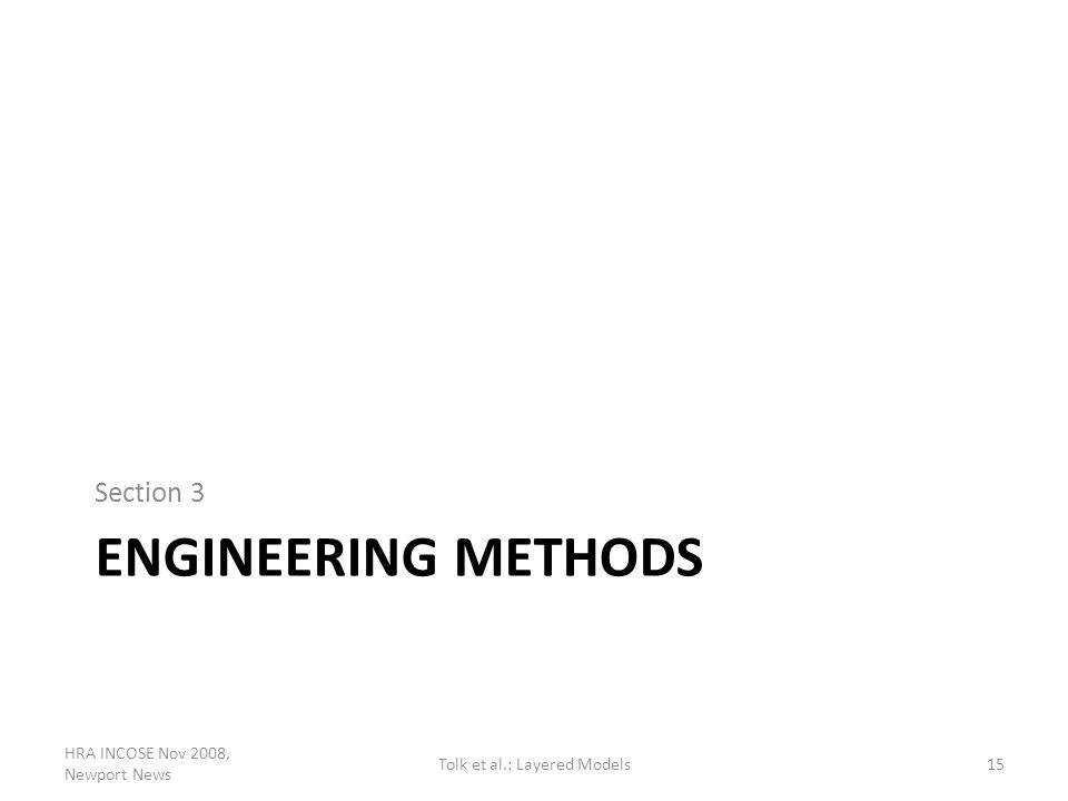 ENGINEERING METHODS Section 3 HRA INCOSE Nov 2008, Newport News 15Tolk et al.: Layered Models