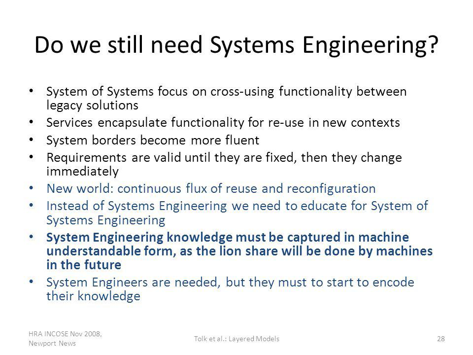 Do we still need Systems Engineering? System of Systems focus on cross-using functionality between legacy solutions Services encapsulate functionality