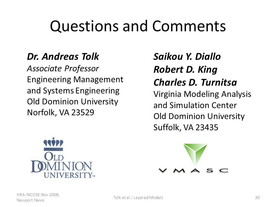 Questions and Comments Dr. Andreas Tolk Associate Professor Engineering Management and Systems Engineering Old Dominion University Norfolk, VA 23529 S