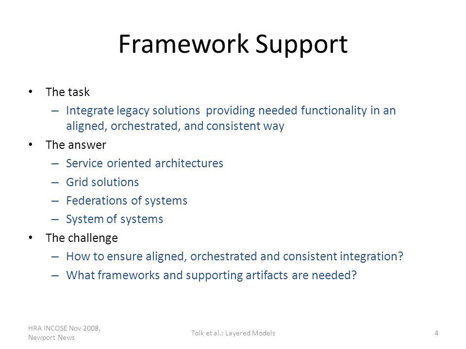 Framework Support The task – Integrate legacy solutions providing needed functionality in an aligned, orchestrated, and consistent way The answer – Se