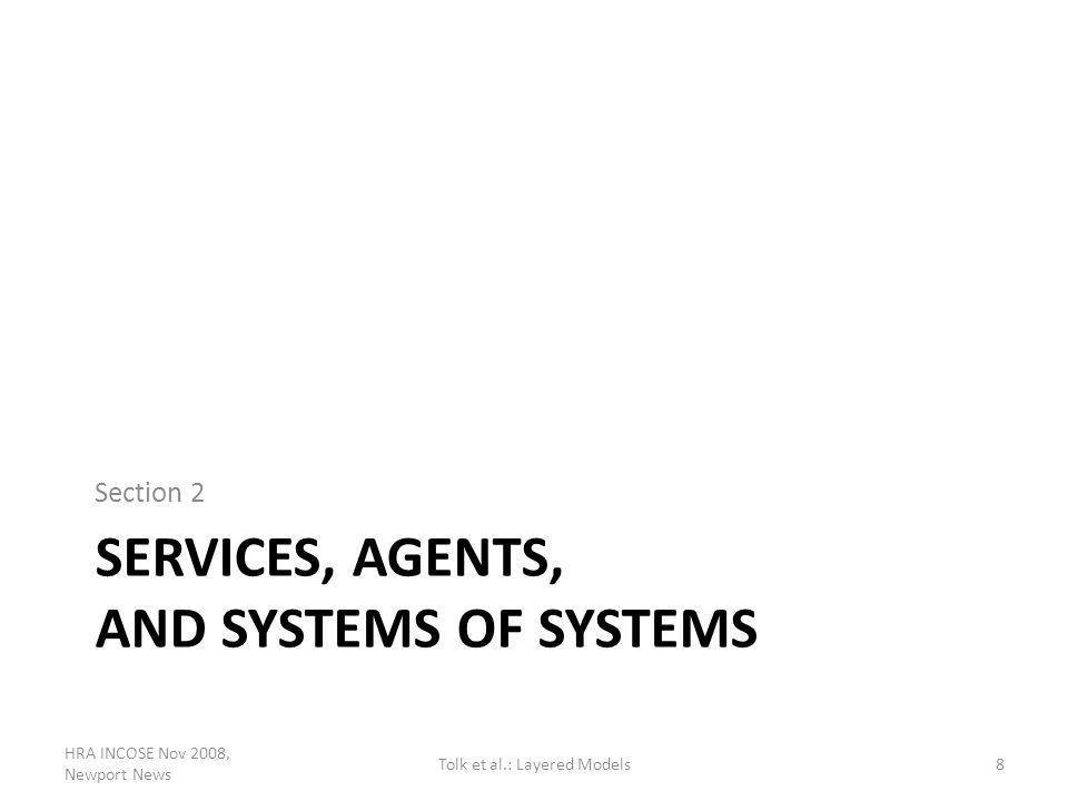 SERVICES, AGENTS, AND SYSTEMS OF SYSTEMS Section 2 HRA INCOSE Nov 2008, Newport News 8Tolk et al.: Layered Models