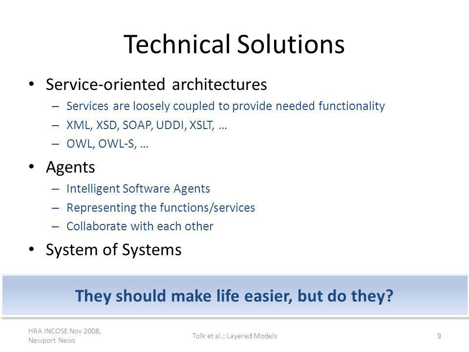 Technical Solutions Service-oriented architectures – Services are loosely coupled to provide needed functionality – XML, XSD, SOAP, UDDI, XSLT, … – OW