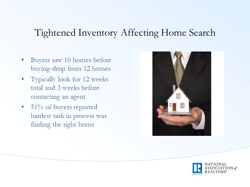 Tightened Inventory Affecting Home Search Buyers saw 10 homes before buying-drop from 12 homes Typically look for 12 weeks total and 3 weeks before co