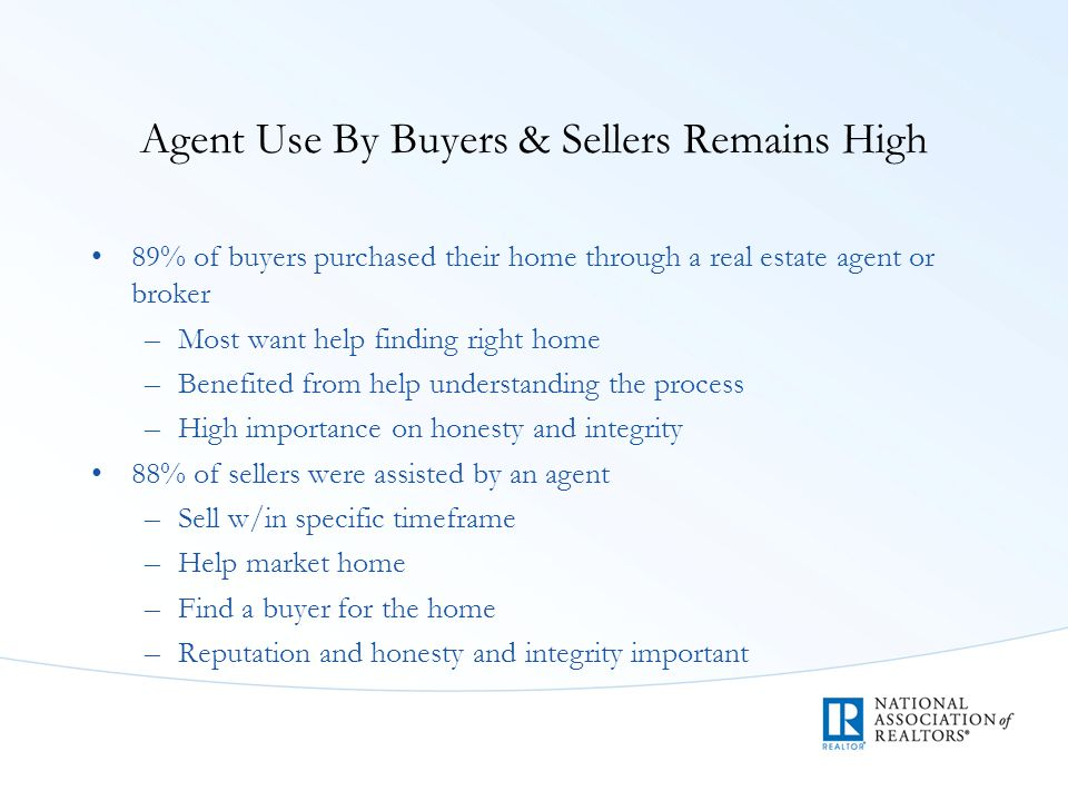 Agent Use By Buyers & Sellers Remains High 89% of buyers purchased their home through a real estate agent or broker –Most want help finding right home