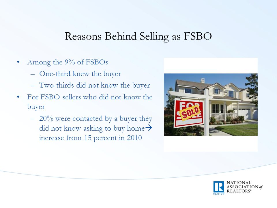 Reasons Behind Selling as FSBO Among the 9% of FSBOs –One-third knew the buyer –Two-thirds did not know the buyer For FSBO sellers who did not know th